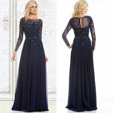 Sequin Navy Blue Mother of the Bride Dresses Evening Gowns Long Sleeve Plus Size