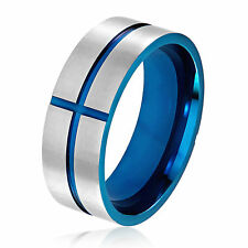 Men's Blue Plated Brushed Stainless Steel Grooved Cross Comfort Fit Ring - 8mm