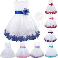 Tulle Flower Girl Princess Pageant Wedding Party Formal Birthday Kids Dress 2-14
