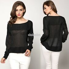 Sexy Womens Long Sleeve Off Shoulder Asymmetric T-Shirt Blouse Shirt Tops EFFU