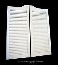 "WHITE CAFE DOOR 32""W Pine LOUVERED Saloon Swinging Pub Bar Western with Hinges"