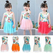 Girls Baby Kids Toddlers Summer Floral Print Top Bow Tutu Dress Skirts Sundress
