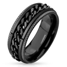 Men's Black Plated Polished Stainless Steel Spinner Chain Inlay Milgrain Ring -