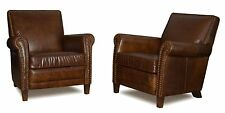 Set of 2 Genuine Leather Club Chairs, Accent Chairs, Cigar Chair with Nail Heads