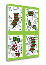 'Christmas Stocking Cheer V' Graphic Art Print on Wrapped Canvas