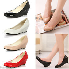 NEW WOMENS LADIES PATENT LEATHER WORK PARTY KITTEN HEELS FORMAL COURT SHOES SIZE