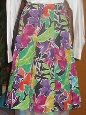 RALPH LAUREN NWT multi colors 100% cotton flowered women's skirt knee length