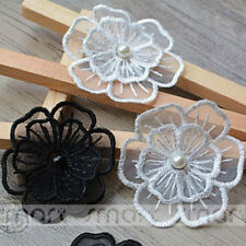 5pcs Mixed Double Stereo Flower With Pearl Polyester Applique Embroidery Decor
