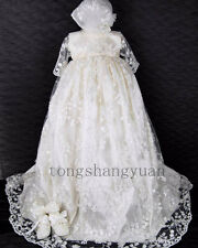 Flower Lace Baby Infant Boys Girls Formal Christening Gown Baptism Robe Dresses