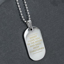 PERSONALISED STAINLESS STEEL DOG TAG Wedding Anniversary Brother Uncle Husband