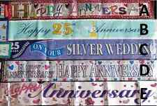 Happy Anniversary Party foil Banners 25th Silver Anniversary Plastic Banners