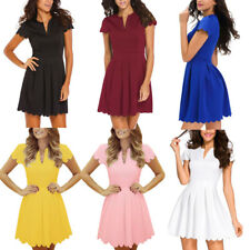 Women Summer Spring Short Sleeve Cute V Neck Sweet Scallop Pleated Skater Dress