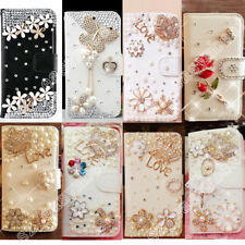 Bling Leather Case Crystal Diamond Wallet Design Book Stand Flip Cover For LG