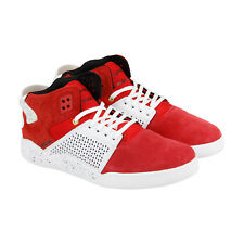 Supra Skytop Iii Mens Red Suede High Top Lace Up Trainers Shoes