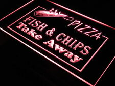 """16""""x12"""" i138-r OPEN Pizza Fish Chips Displays Neon Sign"""