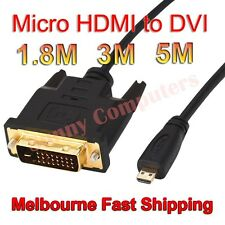Gold Plated Micro HDMI to DVI Male to Male Full HD Adapter Cable Cord 5M 3M AU