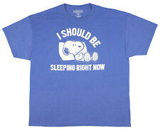 Peanuts Snoopy I Should Be Sleeping Right Now Blue Heather Men's Graphic T-Shirt
