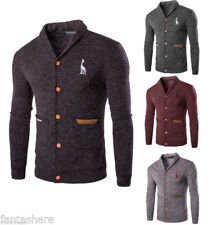 Casual Mens Button Shawl Collar Slim-Fit Long Sleeve Knitted Sweater Cardigans
