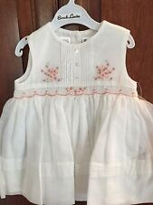 Sarah Louise Infant 6 month Sleevless White dress w/pink embroidery/smocking-NWT