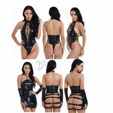 Women Leather Bodysuit Catsuit Jumpsuit Leotard Top Fancy Dress Costume Clubwear