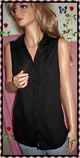 Black  Sleeveless Button Down Collared 2 Pocket Longer Length Shirt Top Blouse