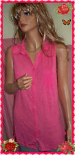 Coral Sleeveless Button Down Collared 2 Pocket Longer Length Shirt Top Blouse