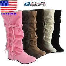 US Women Mid-Calf Knee High Slouch Booties Winter Inner Wedge Boots Shoes Size