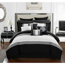 Chic Home 16-Piece Keira King Bed In a Bag Comforter Set Black/Grey