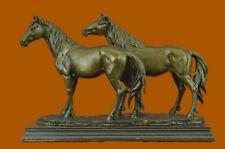 Bronze Rare Thoroughbred Equestrian Horses Playing Marble Sculpture StatueBC