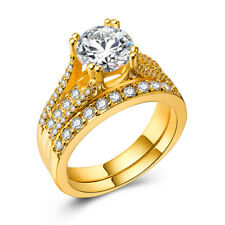 18k Yellow Gold Plated Gorgeous Jewelry White Sapphire Wedding Ring Size 6-10