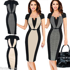 Womens OL Navy Office Belted Formal Party Pencil Dress V-neck Work Bodycon Dress