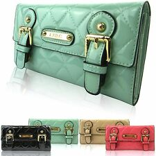 Women Wallet Girl LYDC Designer Patent Quilted Ladies Trifold Clutch Purse Boxed