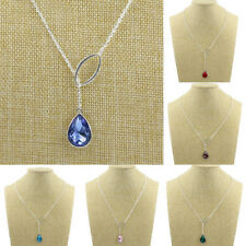New 12 Style Jewelry Silver Plated Chain Crystal Water droplets Pendant Necklace