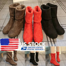 US Women Faux Suede Shoes Lady Low Chunky Heel Ankle Boots Mid-Calf Winter Boots