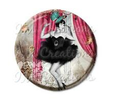"Handmade 2.25"" Pocket Mirror, Magnet or Pin Vintage 1920's Life of the Party"