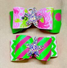 Dog Hair Bows- Summer Beach Pink Green Polka Dots Chevron Dog Bow