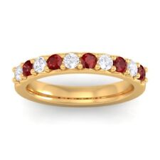 Red Garnet IJ SI Round Diamonds Classic Half Eternity Band Solid Gold Certified