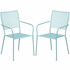Tiffany Sky Blue Stackable Patio Arm Chairs