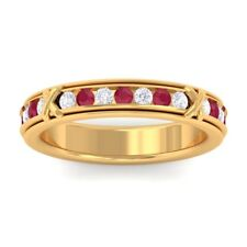 Red Ruby IJ SI Diamond Full Eternity Womens Wedding Ring Solid Gold Certified