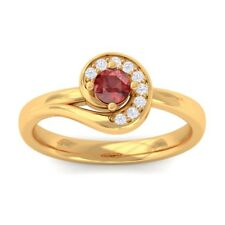 Red Garnet IJ SI Round Diamond Gemstone Fashion Ring Women Solid Gold Certified