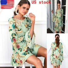 US Women's Crew Neck Long Sleeve Mni Dress Boho Floral Print Green Mini Sundress