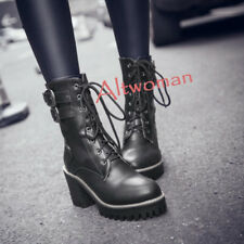 Womens Punk Lace Up Round Toe Cuban Heels Platform Ankle Boots Shoes