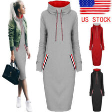 US Womens Casual Dress Long Sleeve Hoodie Hooded Jumper Sweater Tops Midi Dress