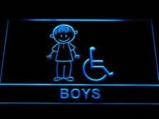 "16""x12"" i1026-b Disabled Wheelchair Handicap Boys Restroom Toilet Neon Sign"