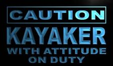 """16""""x12"""" m592-b Caution Kayaker with Attitude on Duty Neon Sign"""