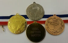 PACKS OF 10,15 & 20 GIRL OR PLAYER OF THE MATCH 50mm FOOTBALL MEDALS & RIBBONS