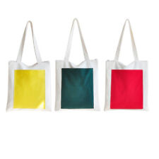 Unisex Colored Rectangle Canvas Tote Bag Shoulderbag White