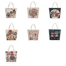 Unisex Cute Embroidered Owl Canvas Tote Shopping Bag