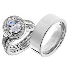 His and Hers Wedding Rings 3 pcs Engagement CZ Sterling Silver Tungsten Set CL