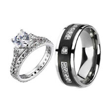 He/She Titanium .925 Sterling Silver Cubic Zirconia Wedding Ring Sets 3 pcs